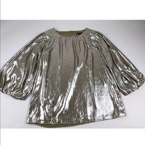 Ann Taylor Top Blouse Metallic Shiny Foil Small